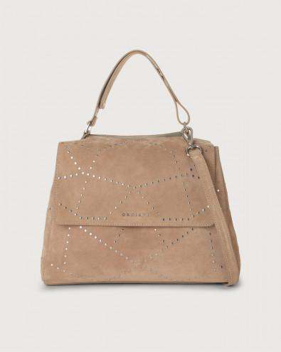 Sveva Savage medium suede shoulder bag with strap