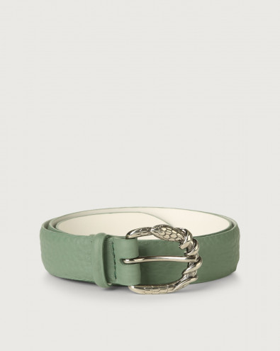 Soft leather belt with snake buckle