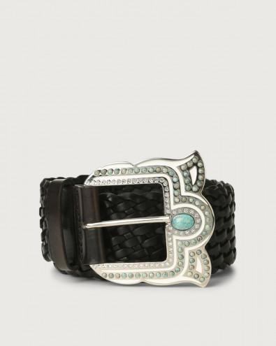 Masculine high-waist woven leather belt