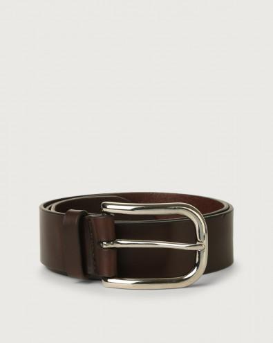 Bull leather belt with eyelets