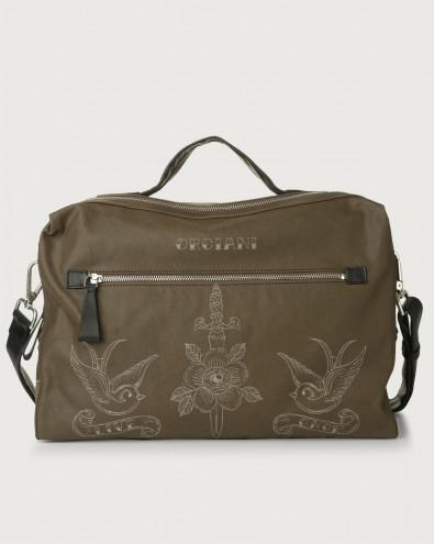 Bond Skin fabric and leather duffle bag
