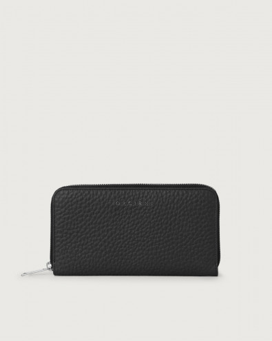 Soft large leather wallet with zip