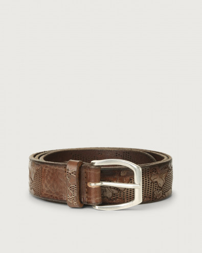 Stain Soapy leather belt with flower decoration 3,5 cm