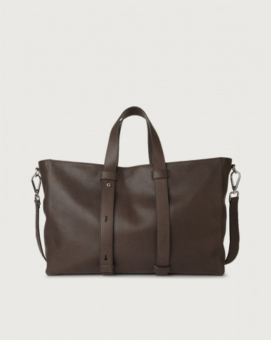 Chevrette leather weekender bag