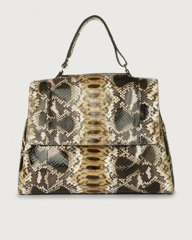 Orciani Sveva Naponos large python leather shoulder bag Python Leather Sand