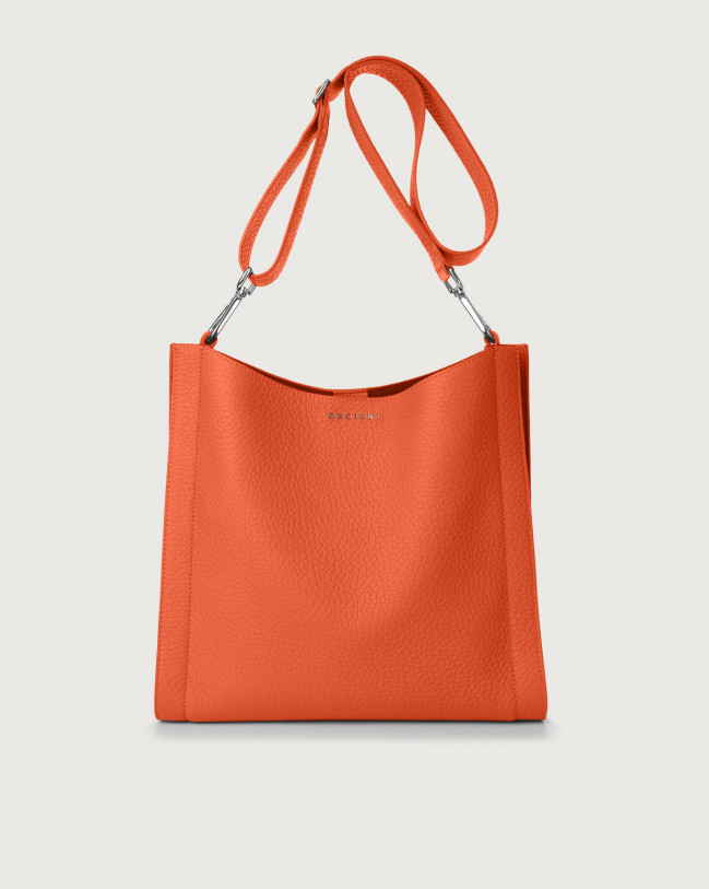 Orciani Iris Soft leather crossbody bag Leather Coral