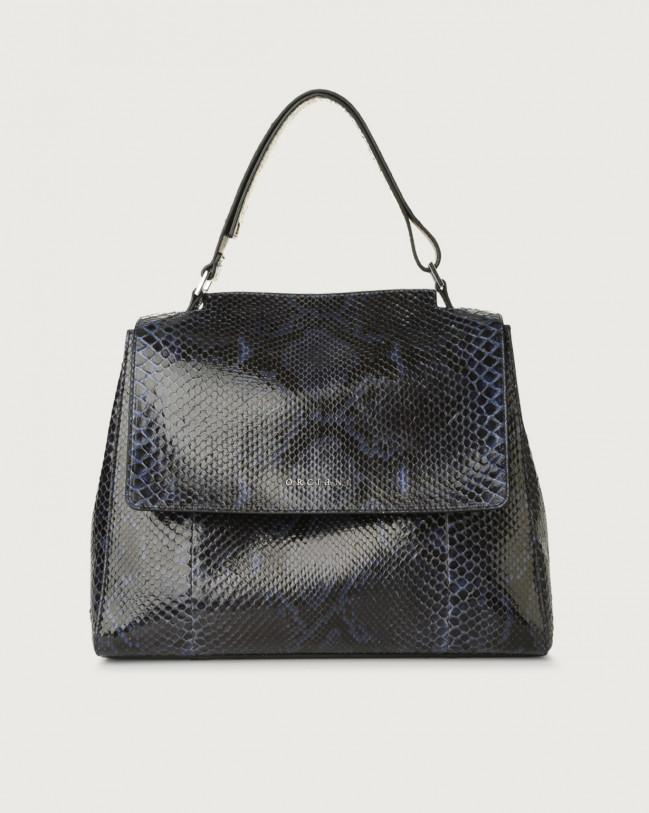 Orciani Sveva Diamond medium python leather shoulder bag Python Leather Deep Blue