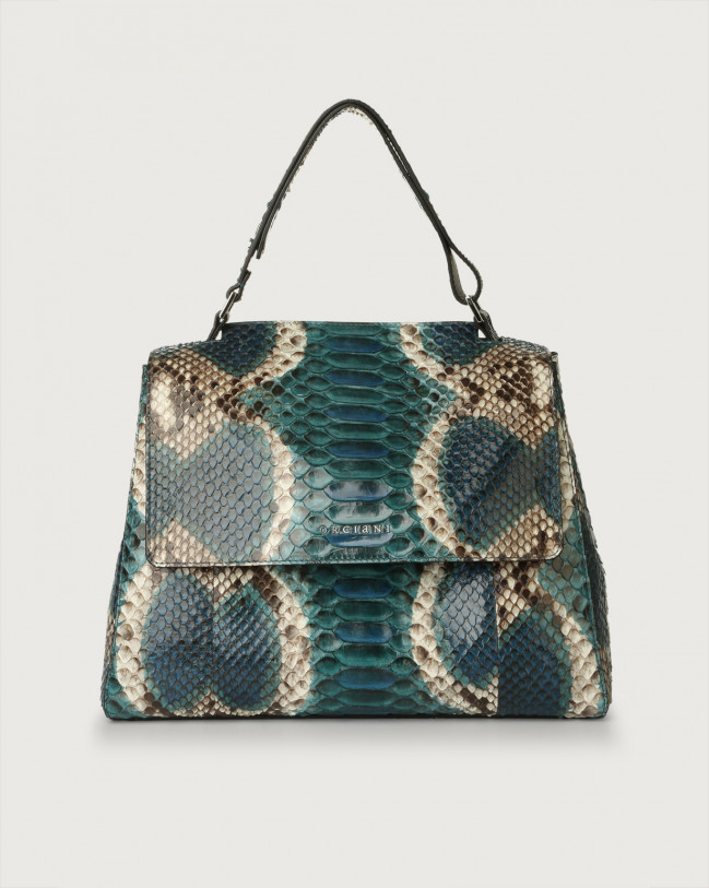 Orciani Sveva Naponos medium python leather shoulder bag Python Leather Blue