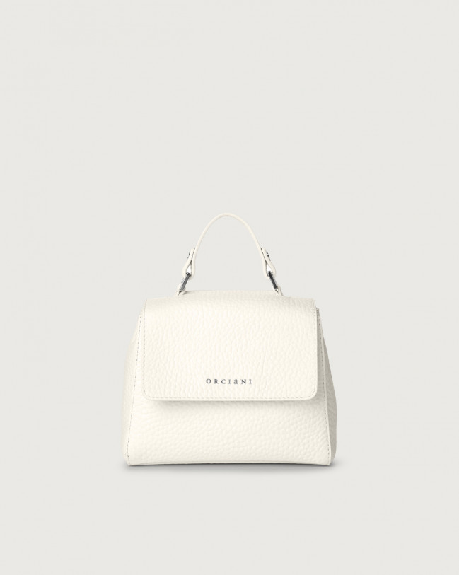 Orciani Sveva Soft mini leather handbag with strap Leather White