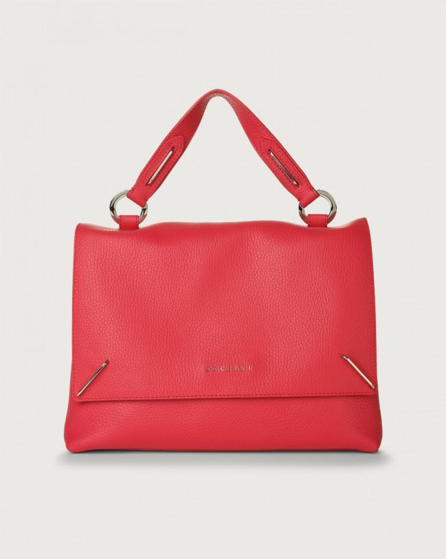 Orciani Kate Micron leather handbag with double flat Leather Fuchsia