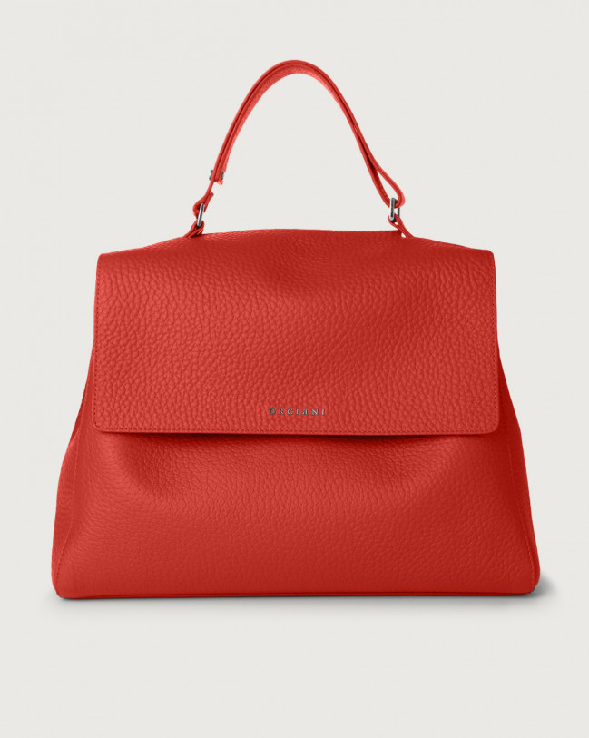 Orciani Sveva Soft large leather shoulder bag with strap Leather Red