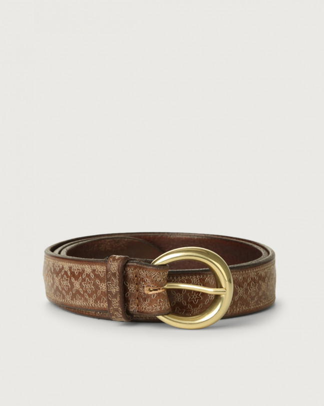 Orciani Stain Soapy leather belt Leather Cognac