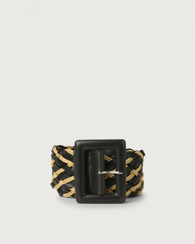 Orciani Twine high waist leather and rope belt Leather & cotton Black
