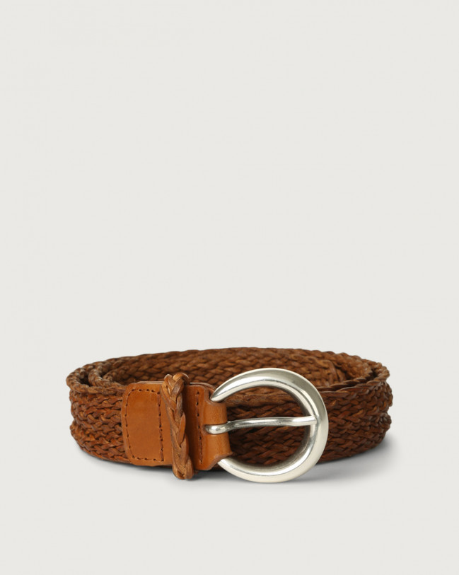 Orciani Masculine braided leather belt Leather Cognac