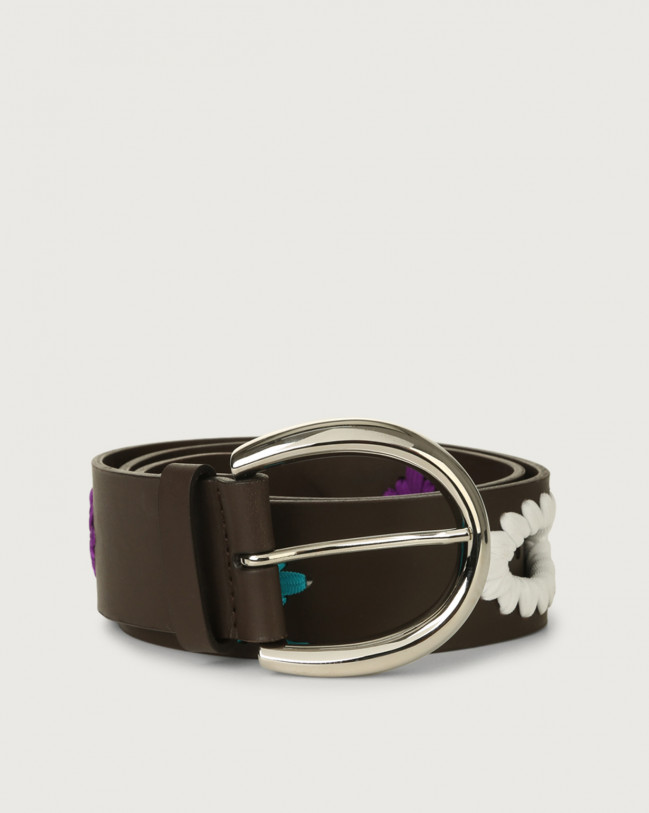Orciani Carioca leather belt 4,5 cm Leather Brown