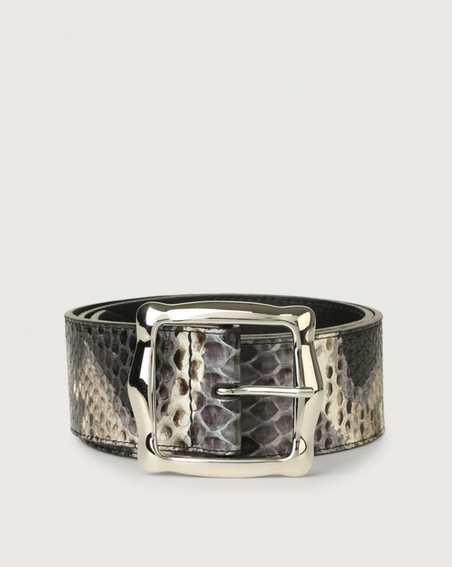 Orciani Naponos high-waist pyhton leather belt Python Leather Grey