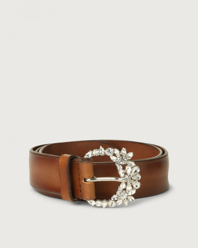 Orciani Bull Soft leather belt with jewel buckle Leather Cognac