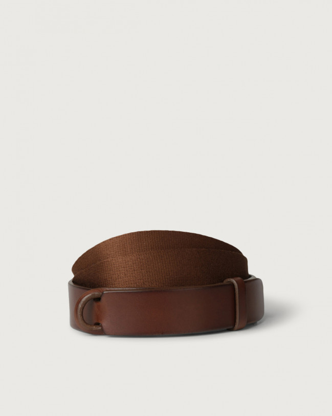 Orciani Leather and fabric Bull Nobuckle belt Leather & fabric Burnt