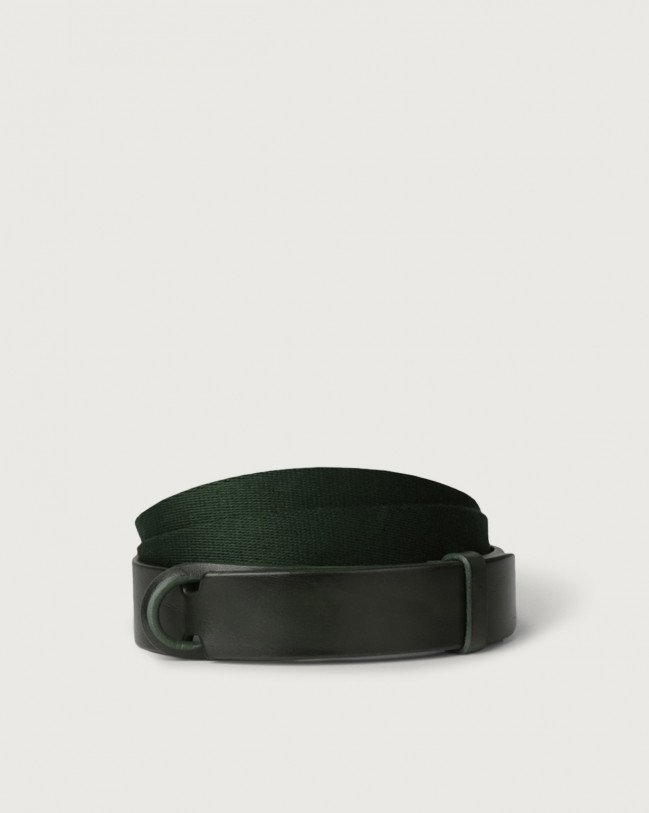 Orciani Leather and fabric Bull Nobuckle belt Leather & fabric Green