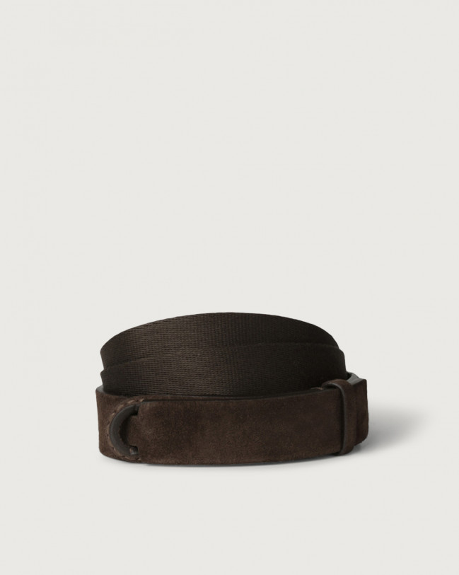 Orciani Suede and fabric Suede Nobuckle belt Canvas, Suede Chocolate