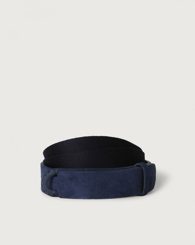 Orciani Suede and fabric Suede Nobuckle belt Canvas, Suede Blue