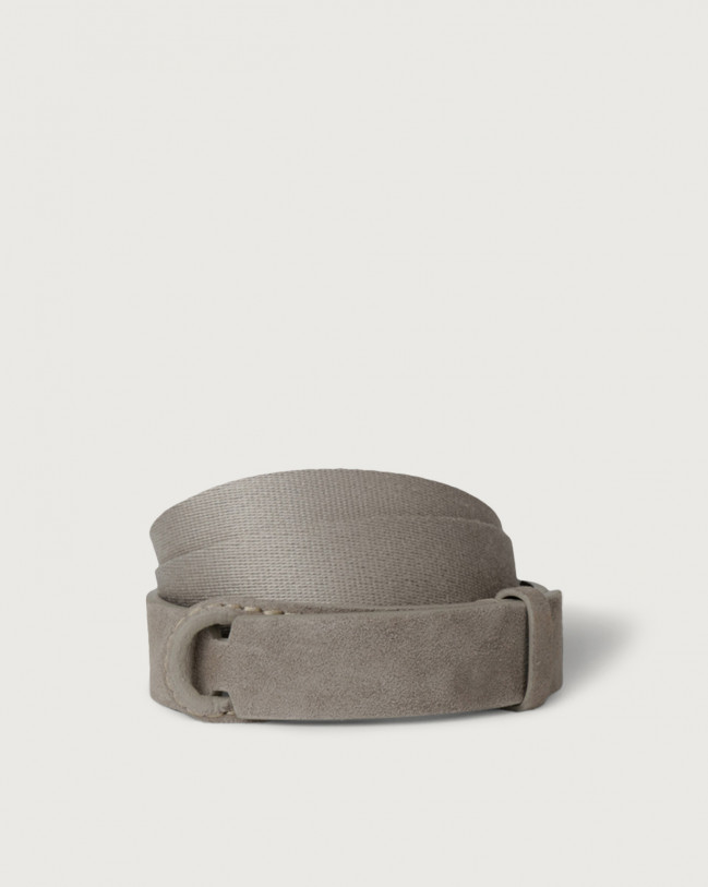 Orciani Suede and fabric Suede Nobuckle belt Canvas, Suede Taupe