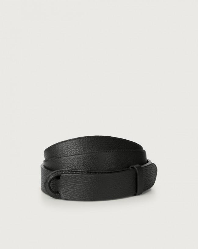 Orciani Micron leather Nobuckle belt Leather Black