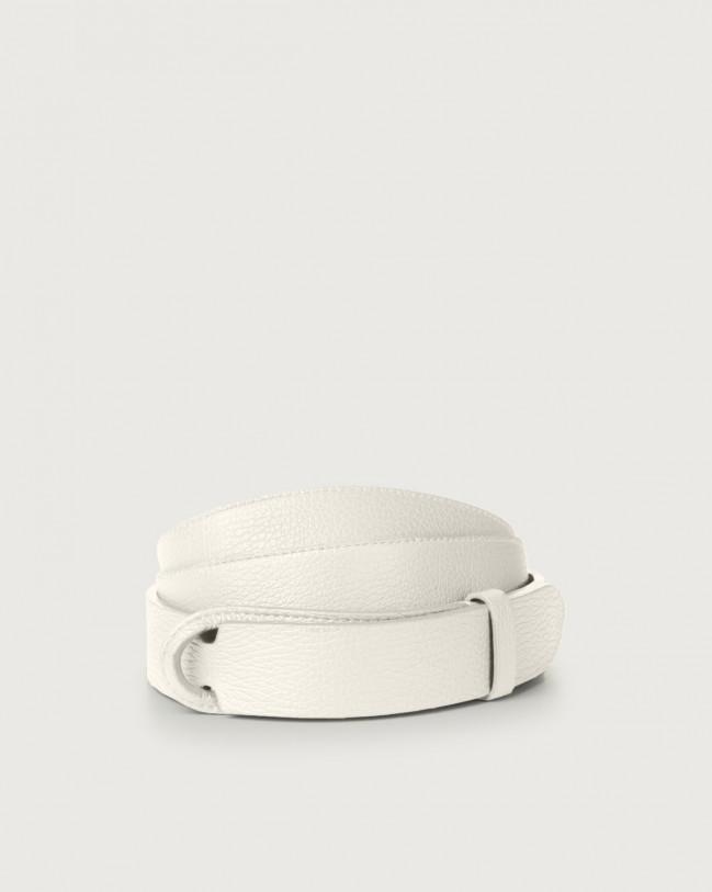 Orciani Micron leather Nobuckle belt Leather White