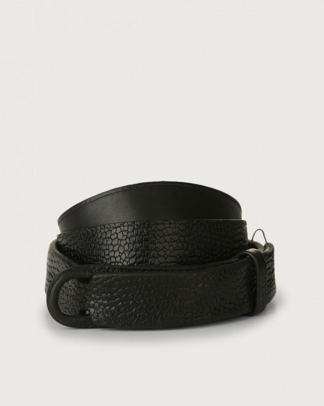 Orciani Grit leather Nobuckle belt Embossed leather Black
