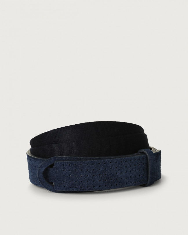 Orciani Suede and fabric Nobuckle belt Canvas, Suede Blue