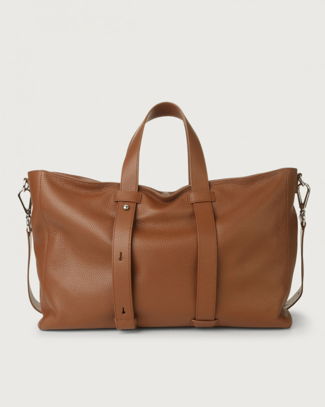 Orciani Micron leather weekender bag Leather Burnt