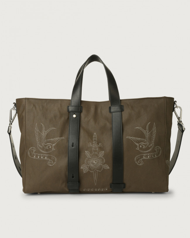 Orciani Skin fabric and leather weekender bag Leather & fabric Black