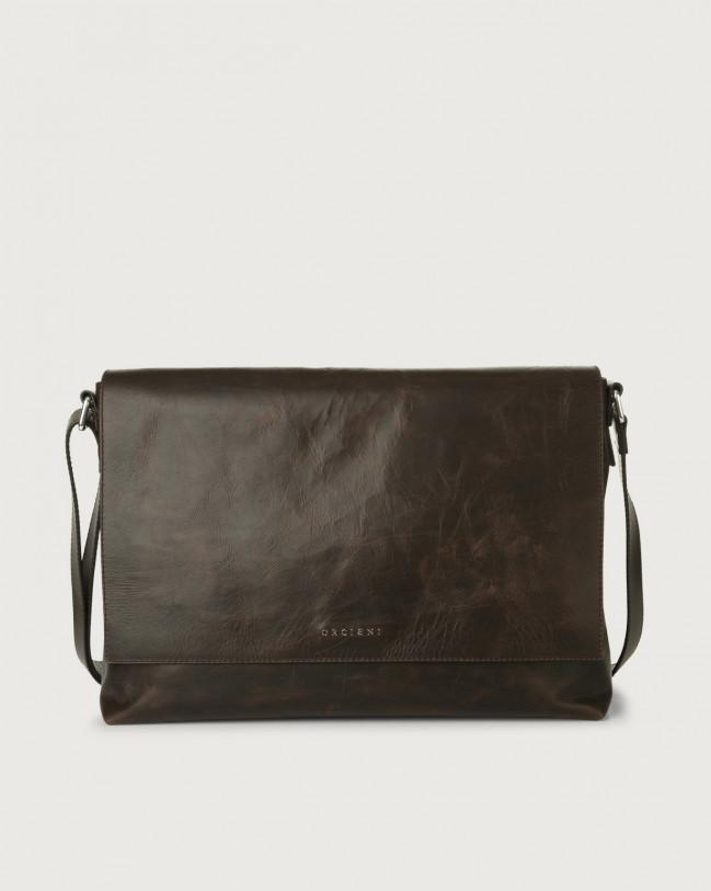 Orciani Artik leather messenger bag Leather Chocolate