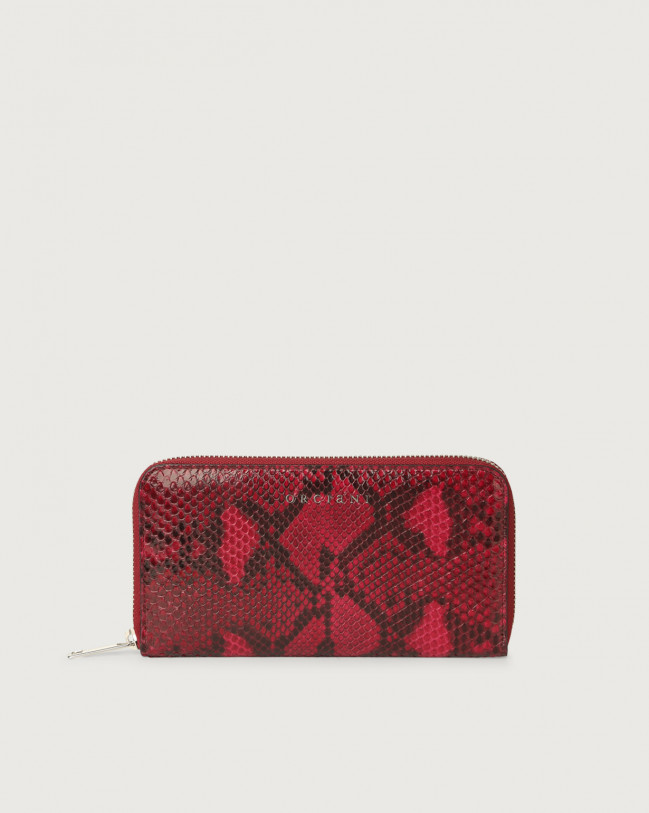 Orciani Diamond large python leather wallet with zip Python Leather Ruby Red