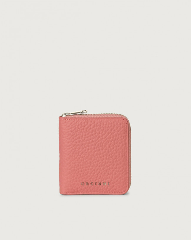 Orciani Soft small leather wallet with zip Leather Pink