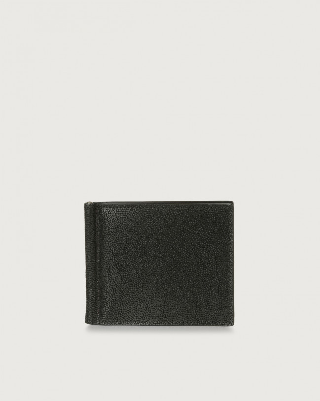 Orciani Frog leather wallet with money clip Embossed leather Black