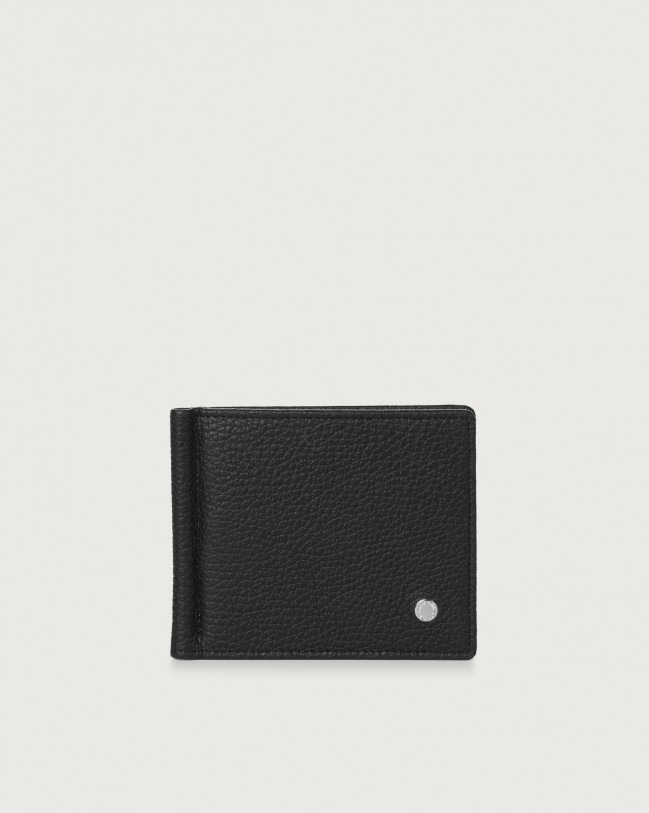 Orciani Micron leather wallet with money clip Leather Black