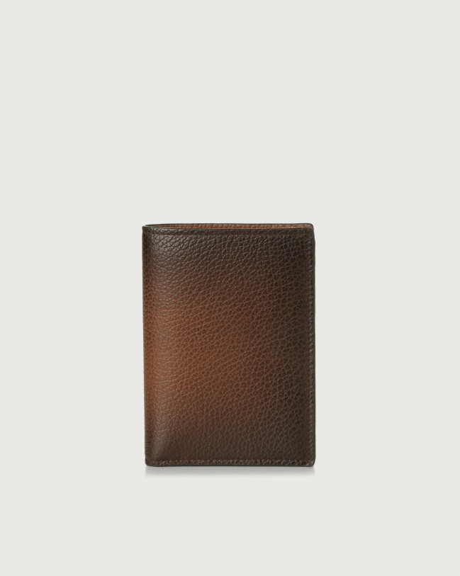 Orciani Micron Deep leather vertical wallet Leather Burnt