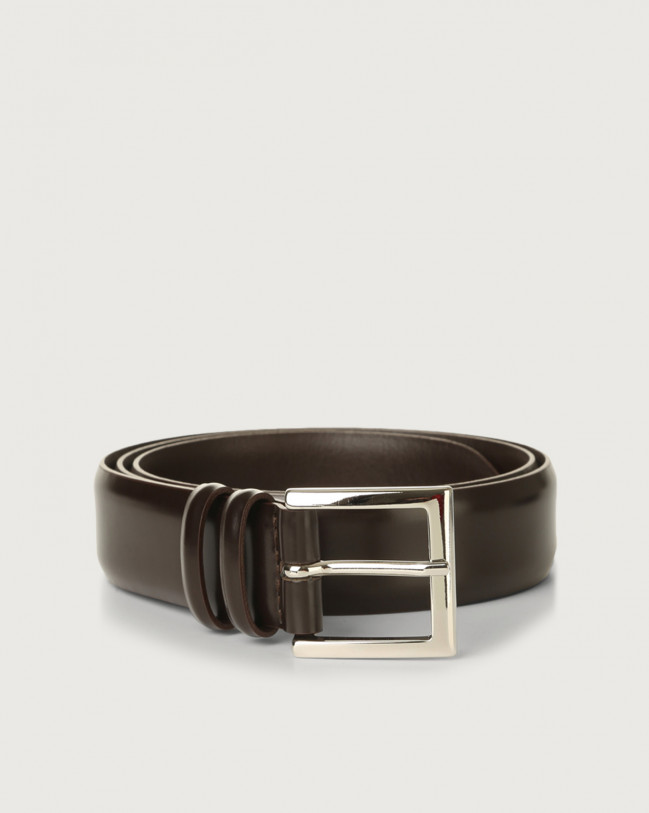 Orciani Calf classic leather belt Leather Chocolate