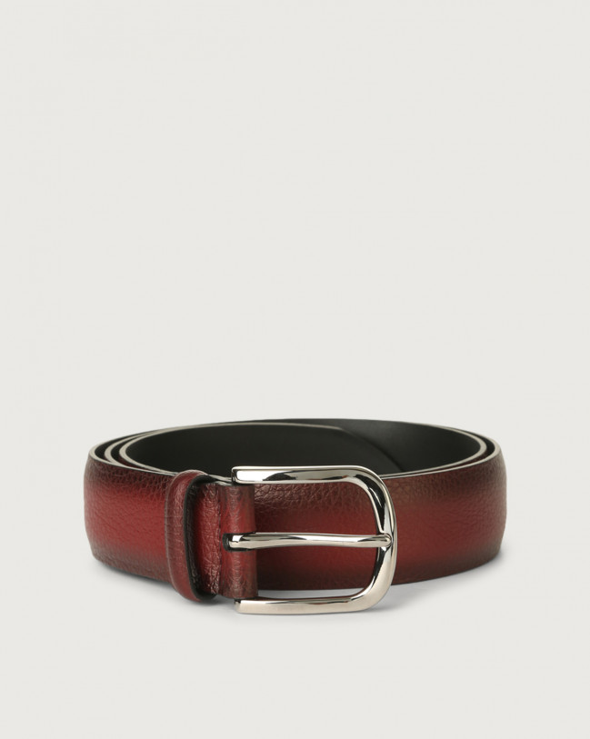 Orciani Micron Deep leather belt Leather Bordeaux