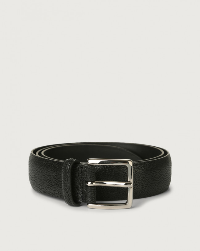 Orciani Frog leather belt Embossed leather Black