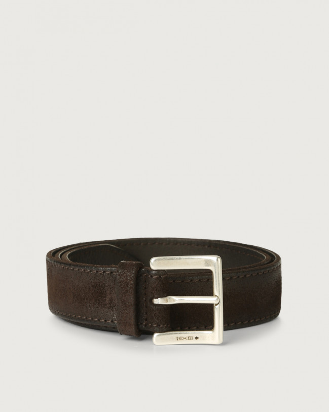 Orciani Hunting brushed suede belt Suede Chocolate