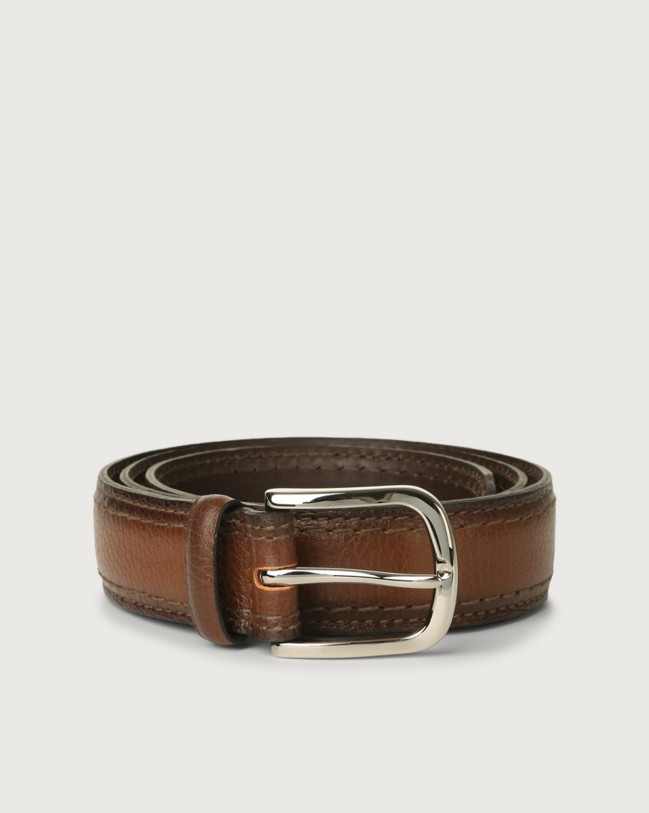 Orciani Micron Deep leather belt 3,5 cm Leather Burnt