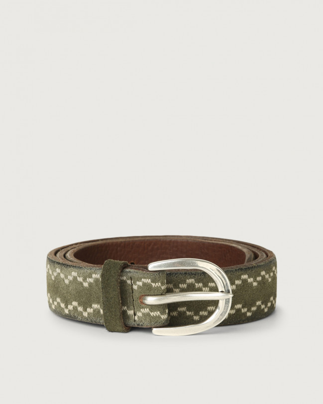 Orciani Cloudy Frame suede leather belt Suede Olive Green