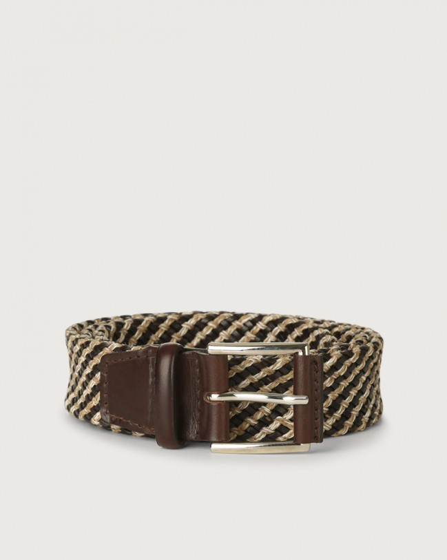 Orciani Square woven fabric and leather belt Leather & cotton Chocolate