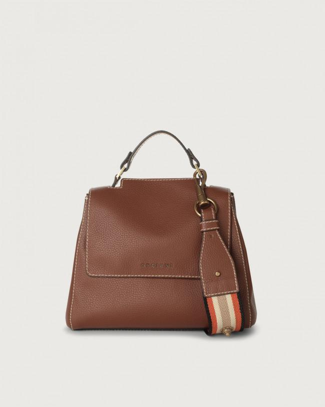 Orciani Sveva Fanty small leather handbag with strap Leather & fabric Cognac