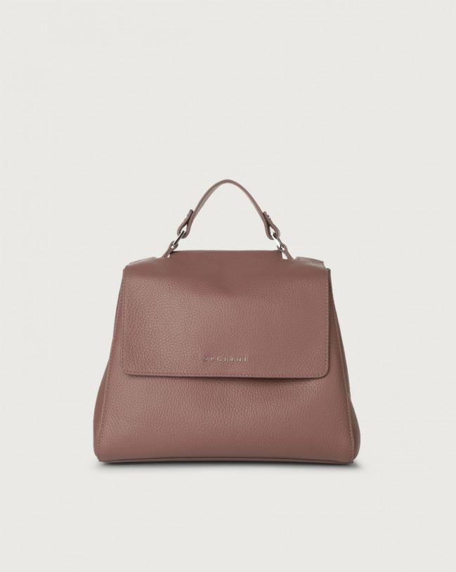 Orciani Sveva Micron small leather handbag with strap Leather Mauve