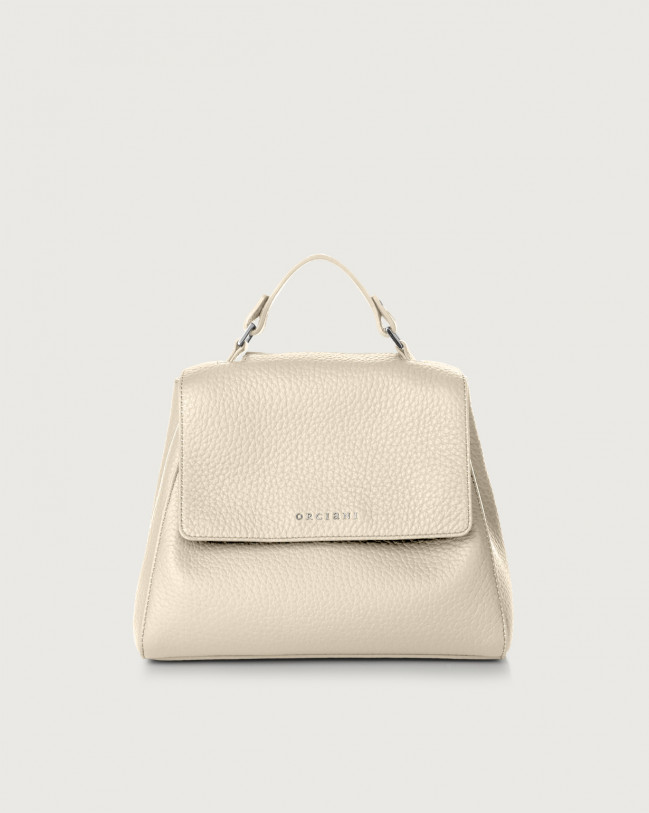 Orciani Sveva Soft small leather handbag with strap Leather Ivory