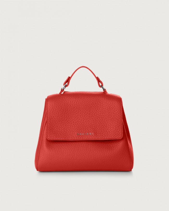 Orciani Sveva Soft small leather handbag with strap Leather Marlboro red