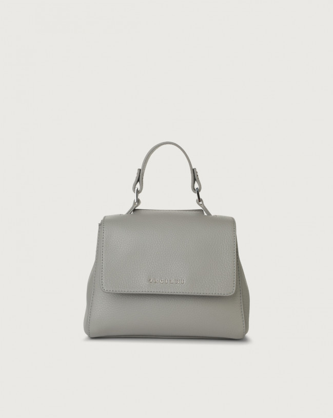 Orciani Sveva Micron mini leather handbag with strap Leather Grey